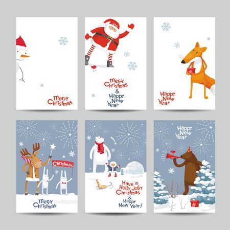 Set of a creative vector Christmas cards. Christmas Galaxy. Christmas and New Year image with cute cartoon  animals, birds and Santa for greeting cards, posters, banners, sales and other winter events