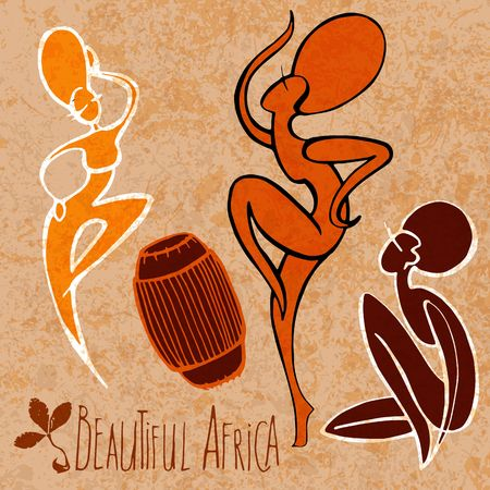 african drums: Stylized dancing African girl