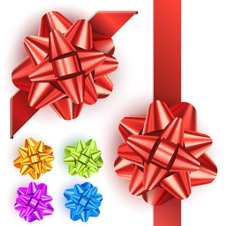 lazo rosa: Conjunto arco de regalo Vectores