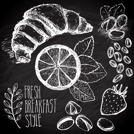 chalk board: Breakfast sketched set