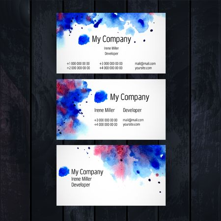 ombre: Watercolor business card template Illustration