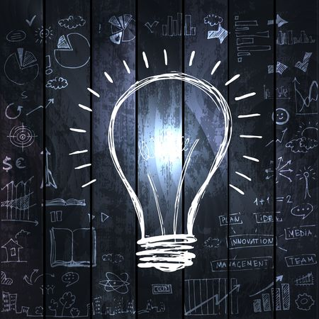 finance background: Light bulb with drawing business success strategy
