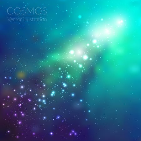 Vector cosmos illustration with stars and galaxy Çizim