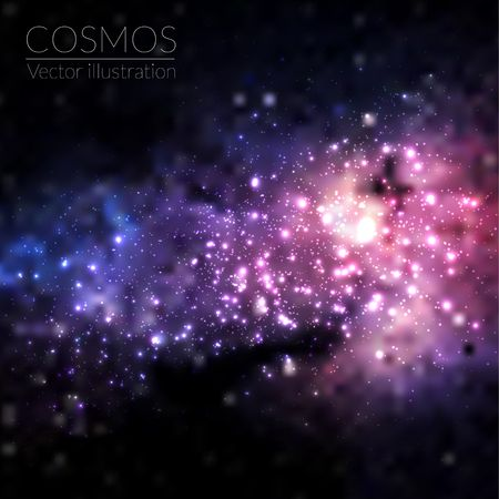 Vector cosmos illustration with stars and galaxy Vettoriali