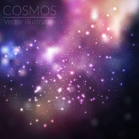 Vector kosmos illustratie met sterren en de melkweg Stock Illustratie