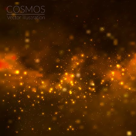 red star: Vector cosmos illustration with stars and galaxy Illustration