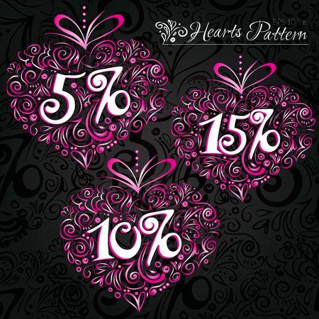 Pink heart pattern on black backround Vector