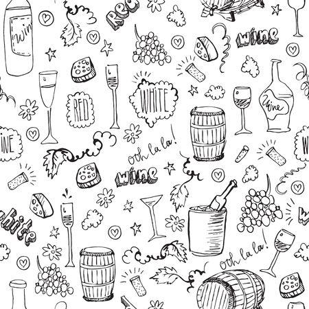 ワインのシームレスなパターンをスケッチします。  イラスト・ベクター素材