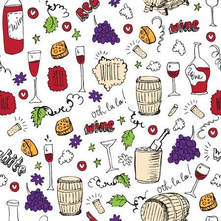 Wine sketch and vintage illustration Vector