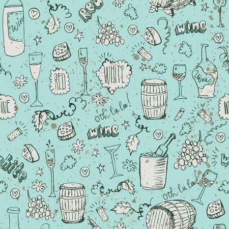 vino: Wine sketch and vintage illustration Illustration