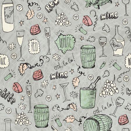 Wijn schets vintage naadloze illustratie Stock Illustratie
