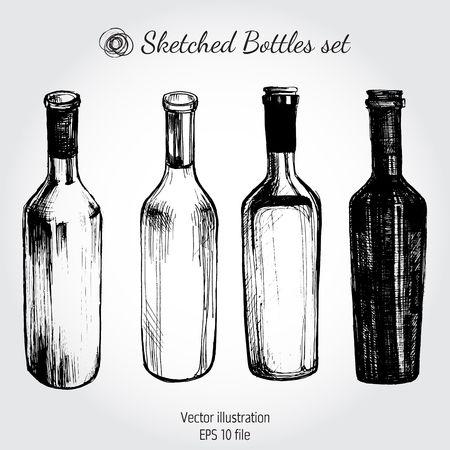 botella: Botella de vino - bosquejo y vintage
