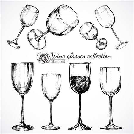 wine background: Wine glasses - sketch illustration
