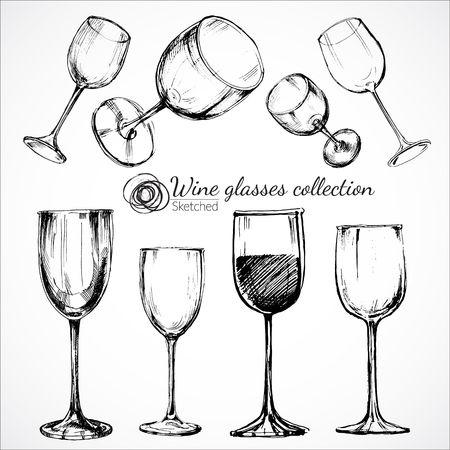 wine tasting: Wine glasses - sketch illustration