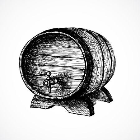 vino: wine cask sketch and vintage illustration Illustration