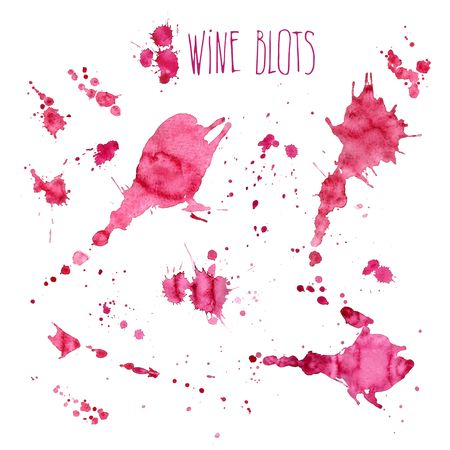Wine splash and blots concept Çizim