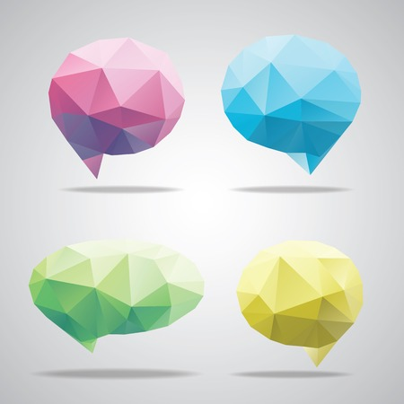 bubble speach: Vector triangle bright speech cloud and blobs