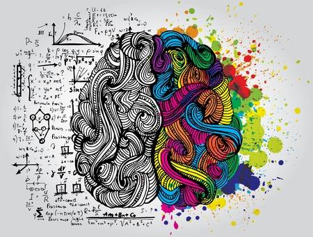 Jasne Sketchy Doodles o mózgu z kolorowymi elementami