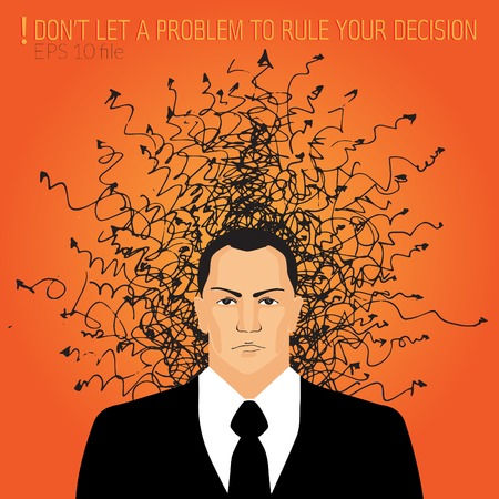 in trouble: Angry businessman with doodles - trouble and problem concept Illustration