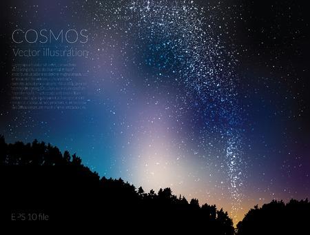 Vector illustratie - deep sky nacht met sterren en de Melkweg Stock Illustratie