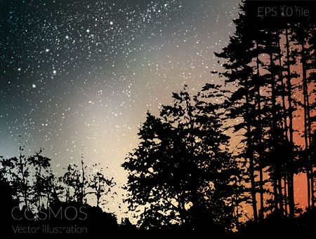 Vector illustration - deep sky night with stars and Milky Way