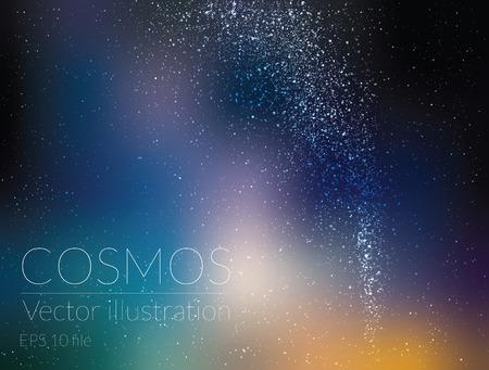 ベクトル イラスト - 深い空の星と天の川の夜