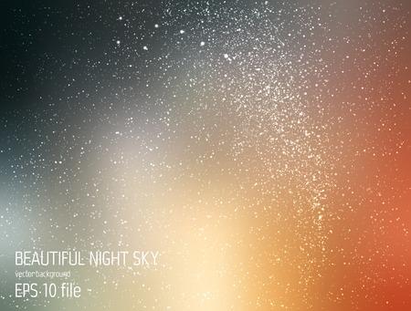 milkyway: Vector illustratie - deep sky nacht met sterren en de Melkweg Stock Illustratie