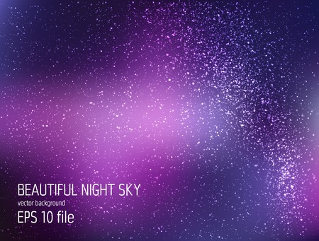 galaxy: Vector illustration - deep sky night with stars and Milky Way