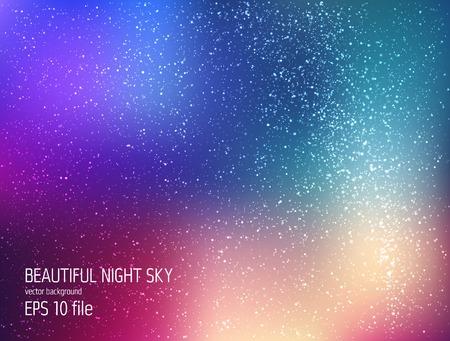 Vector ilustración - cielo profundo noche con estrellas y la Vía Láctea