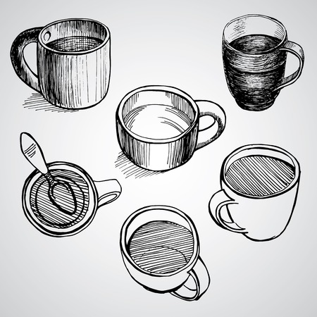 set of coffe mugs vector drawing sketch style Illustration