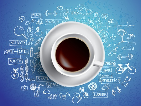 Vector business illustration - coffee cup with colored doodles about business ideas Vector