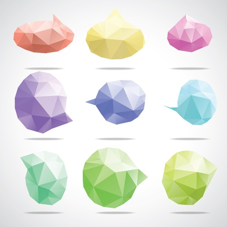 speach: Vector triangle bright speech cloud and blobs