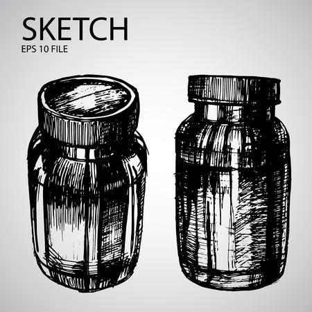 기밀: 스케치 병 벡터 설정 - 미용 업계 그림 일러스트