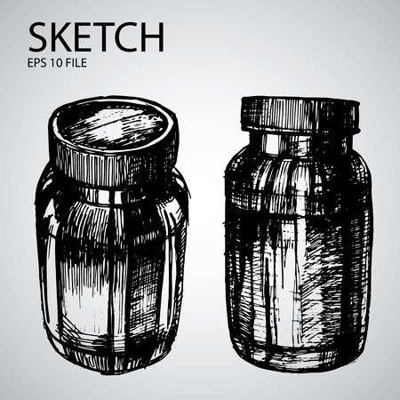 airtight: Vector set with sketched bottle - illustration for the beauty industry Illustration