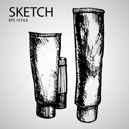 기밀: Vector set with sketched bottle - illustration for the beauty industry 일러스트