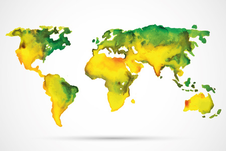 World Map Watercolor, Vector illustration Vectores