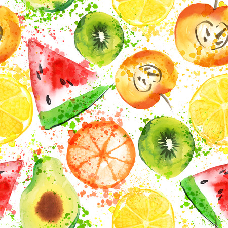 Fruits watercolor seamless pattern Çizim