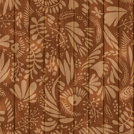 Floral pattern on wooden seamless background Vector