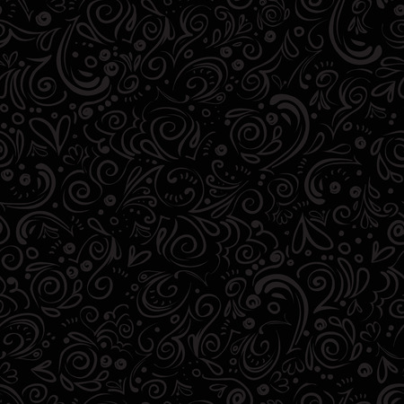 liable: Grey seamless floral pattern on black background