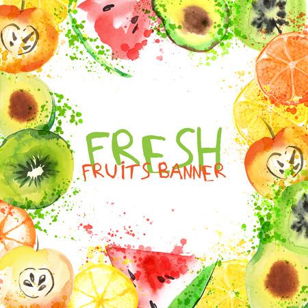 Watercolor fruits illustration
