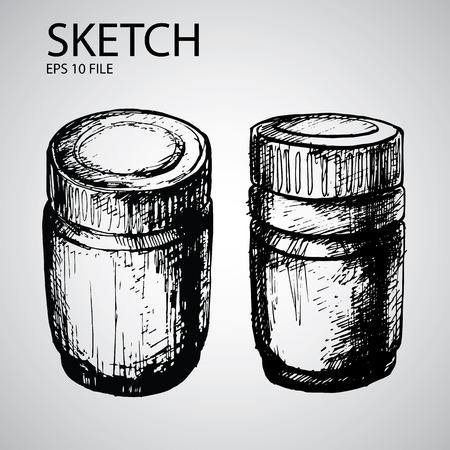 기밀: Vector set with sketched bottle