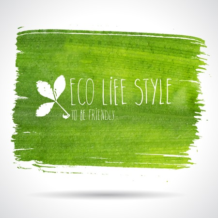 Green hand-drawn banner - eco background Фото со стока - 38527484