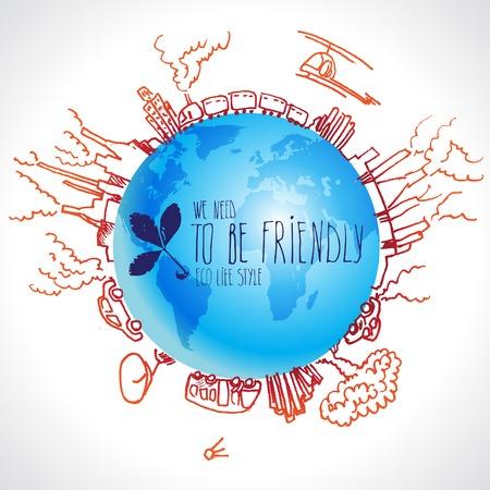 dangerous: Eco concept with planet doodles about dangerous Illustration