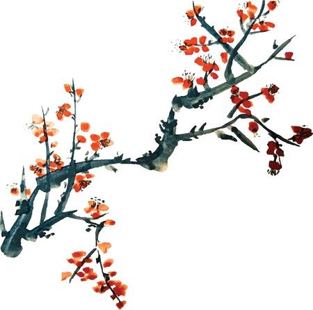 Pintura china de flores Foto de archivo - 38527574