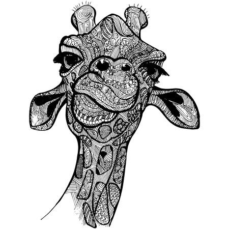 doodle art: Giraffe vector illustration