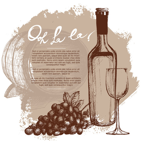 grapes on vine: Wine bottle illustration