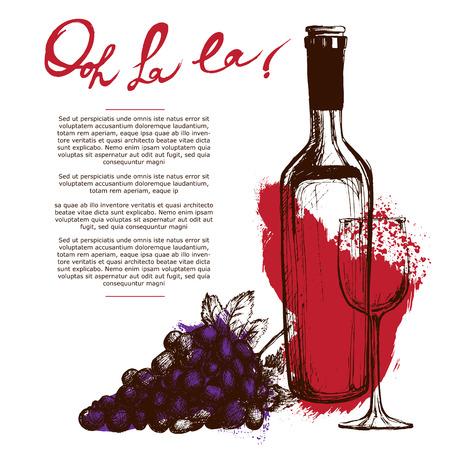red wine bottle: Wine bottle illustration