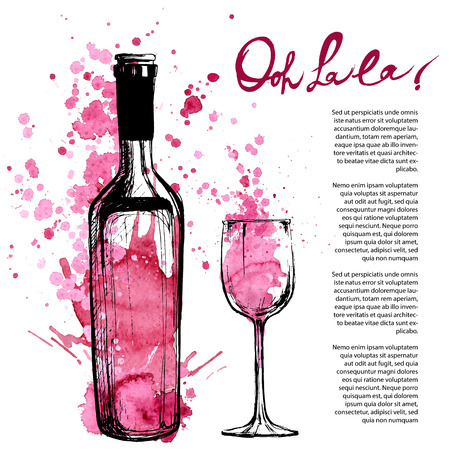 glass with red wine: Wine bottle illustration