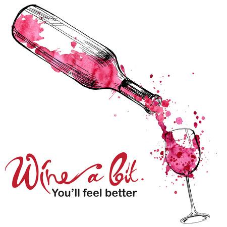 vino: Ilustración Vino - boceto y estilo de arte Vectores