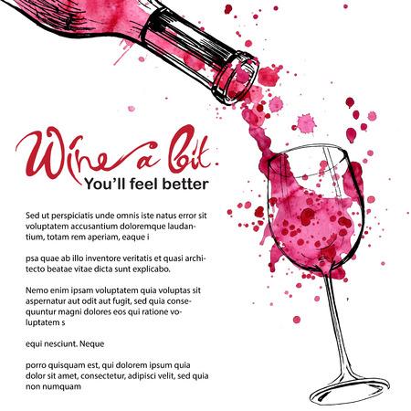 copa de vino: Ilustraci�n Vino - boceto y estilo de arte Vectores
